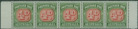 Postage Due SG D135a 4d Carmine and deep Green die II strip of 5 s (AD1/14)